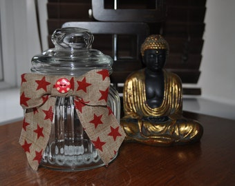 Medium / small Cute decorative jar with lid decorated with bow and ribbon - burlap ribbon, red stars, red button.