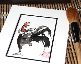 Chinese New Year, 2017, Year of the Rooster, Rooster, Original Sumi Ink Painting, feng shui, new year greeting