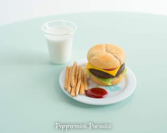 American Girl Doll Food - Fast Food Set - Burger - Fries w. Ketchup - Glass of Milk - Polymer Clay Food for 18 Inch Dolls