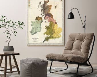 Geological Map British Islands| Palaeontological Map of UK in Early 19th Century| Old British isles Map| Antique Ireland Map| AMC022