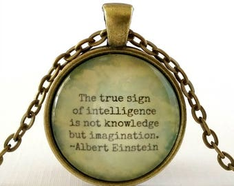 Einstein Quote | Inspirational Quote Necklace | Glass Pendant | Gift Idea | Education Quote | Imagination Quote | Encouraging Quote
