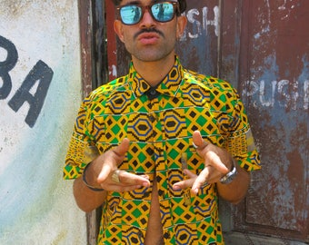 Mr Jamaica shirt // African men's shirt // Kente shirt // African clothing // Festival shirt // Colourful top // Two-piece //Hippie clothing