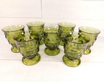 Vintage Set of 7 Green Whitehall Pedestal Drinking Glasses