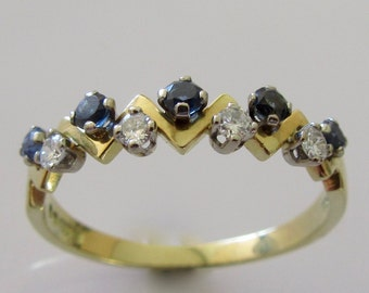 18ct Gold Sapphire and Diamond Half Band Ring