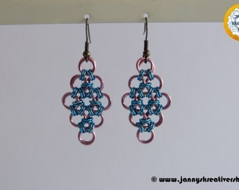 Earrings Diamond Pink Blue, Chainmaille