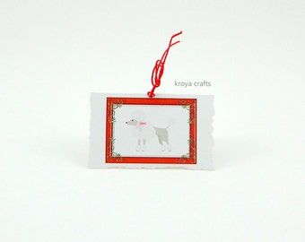 Poodle Printed on Deckled Edge Folded Blank Inside Mini Paper Tag | Poodle in Christmas Red Frame Printed on Rough Edge Mini Paper Tag