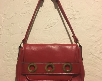 Vintage Bag- Vintage 1960s Red Flap Bag with Eyelet Detail
