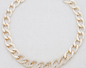Gold necklace, chain necklace, gold chain necklace, gold rhinestone necklace, gold choker, necklaces, statement necklaces, chic necklace