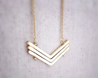 Chevron necklace, gold necklace, layered necklace, geometric necklace, dainty necklace, simple necklace, trendy necklace, necklace, gift