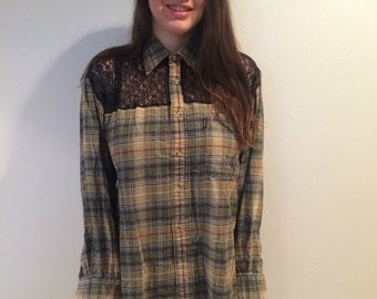 Vintage Tan and Black flannel shirt with Lace panels!