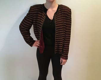 Burgandy/Gold/Black Beaded Silk Jacket