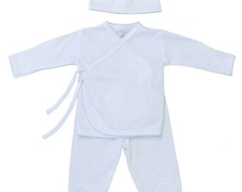 Newborn kimono set-2 pieces with hat- White with blue trim- kimono set-shirt and footie with hat-pima cotton-newborn pajamas-personalized