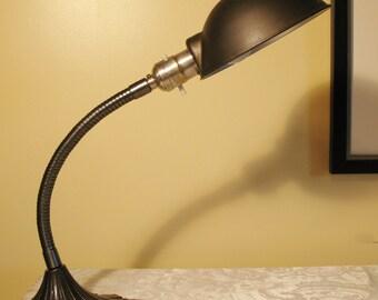 Antique Lighting: Circa 1920s classic metal gooseneck desk lamp