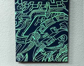 Greenmech on black canvas