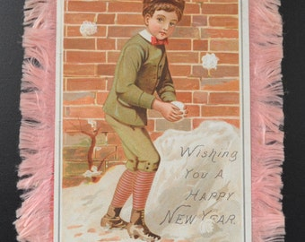 Victorian New Year's Card with Silk Fringe Double Sided Boy and Girl Raphael Tuck Sons 1800s Antique Card