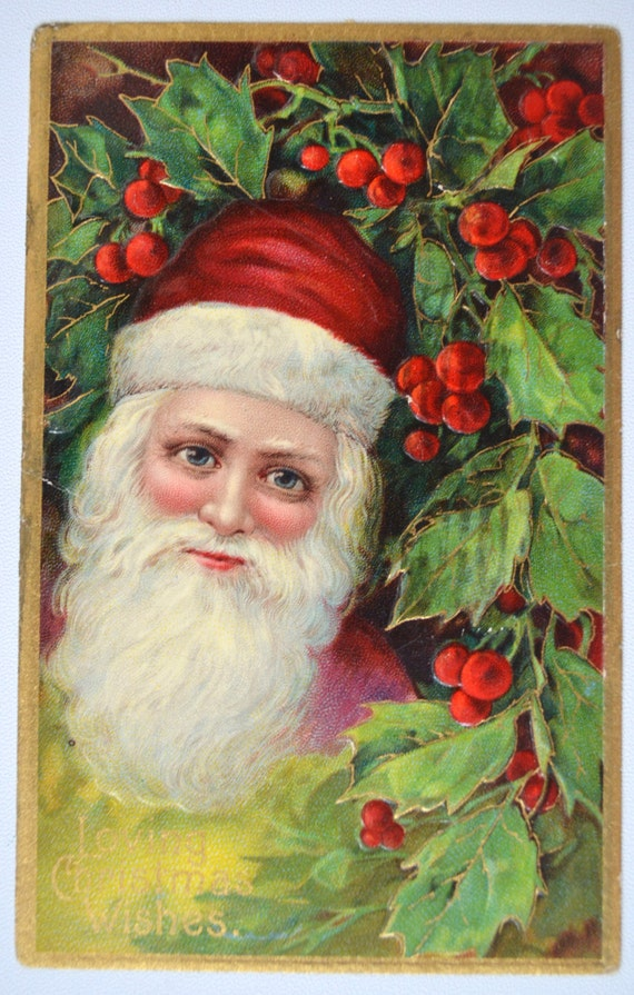 Christmas postcard santa claus red suit holly plants