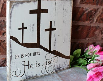 He is Risen, easter decoration, easter sign, wood sign, easter decor, christian easter, he is risen wood sign, easter wall art