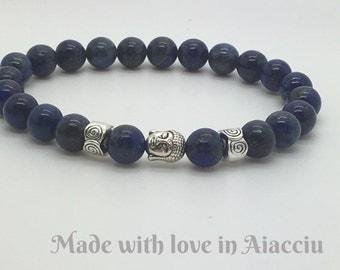 Bracelet Buddhist man lapis lazuli beads