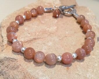 Peach bracelet, peach moonstone bracelet, sundance style bracelet, Hill Tribe silver bracelet, stelring silver bracelet, charm bracelet