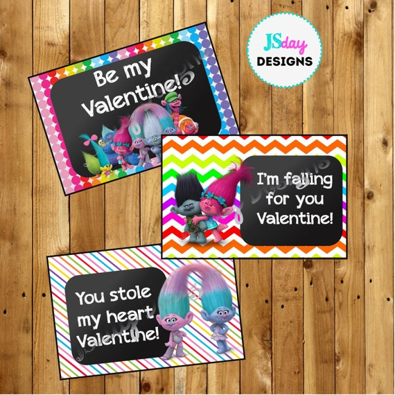 Trolls Printable Valentine Cards