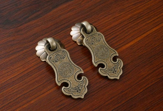 Chinese Style Antique Drop Pulls Drawer Handles Antique