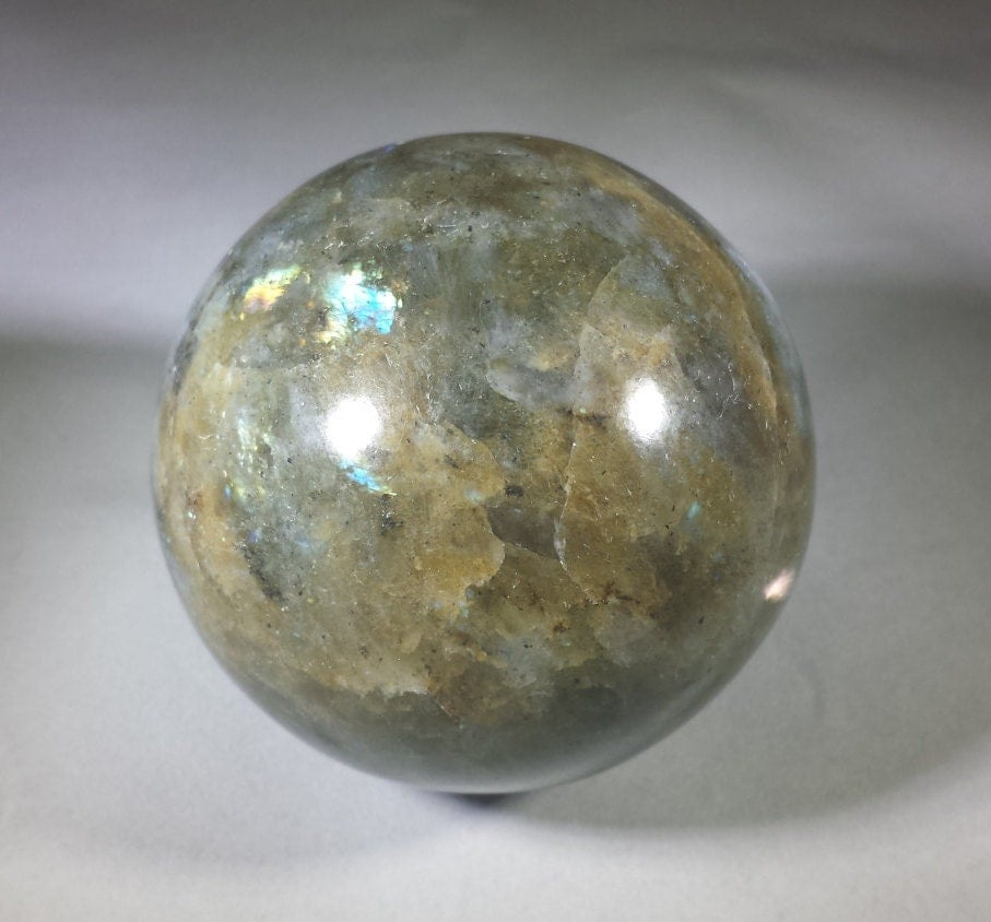 Large labradorite sphere natural stone hand carved gemstone