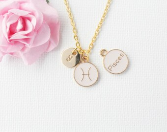Pisces Zodiac Sign Astrology Necklace, pisces necklace, star sign necklace, star sign necklace, March and April birthday / GFZSSNPISC1