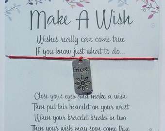 Wish Bracelet - Friends Tag / Charm Bracelet / Friendship Bracelet / Dog Tag / Friendship Gift / Choice of colours / Wish Knots