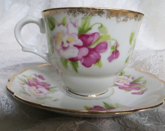 Vintage Souvenir of Canada Tea Cup and Saucer Pansies with Gold Trim