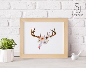 40% OFF  Dear Antler Printable Art, Floral Art, Antler Art, Deer Antlers, Flower Art print, Deer print, Boho Decor, Tr