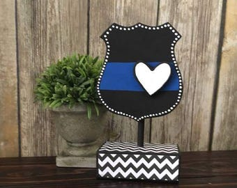 Back the Blue, Police Decor, Shelf Sitter, Thin Blue Line, Wood Decor, Home Decor, Law Enforcement, Police Officer Gifts, Police Gifts