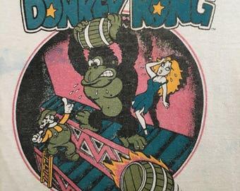 Vintage 80s Donkey Kong Tshirt - Vintage Donkey Kong Nintendo 50-50 Tee - Medium