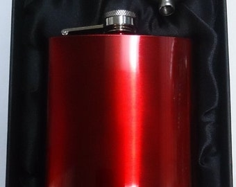 6oz Red Stainless Steel Hip Flask & Funnel Gift Set