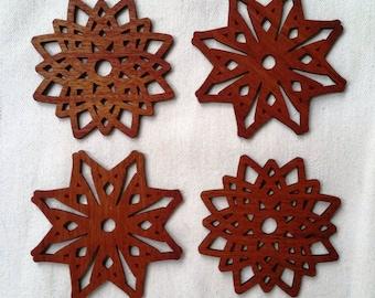 Geometric Wood Coasters, Laser Cut, Mahogany