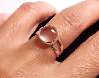 Rose Quartz sterling silver ring, pink stone, love stone, stone ring, gemstone ring, bezel setting ring, love ring, handmade ring