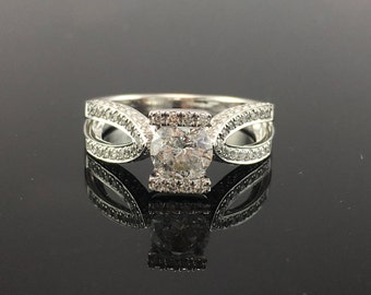 White Gold 3/4 Carat Diamond Engagement Ring- Channel Bar Set Diamond Engagement Ring with Diamond Pave Split Shank- Modern Engagement Ring