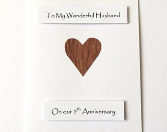 5th Wedding Anniversary Card Wood Anniversary Heart Husband Wife Him Her