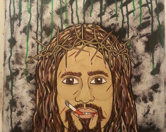 ON SALE! Rock N' Roll Jesus Acrylic painting on 16x20 canvas