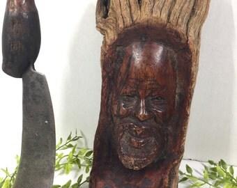 Vintage African Sword Tool with Tree Stump Carving Tribal  Folk Art