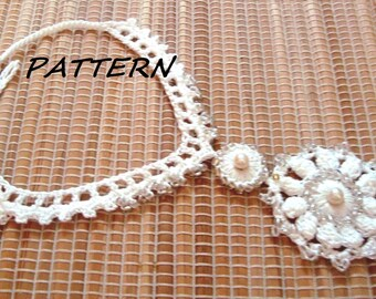 CROCHET Necklace Pattern, Crochet Classic Beaded Necklace Pattern, Wedding necklace pattern, Fiber Necklace pattern, Instant download, pdf