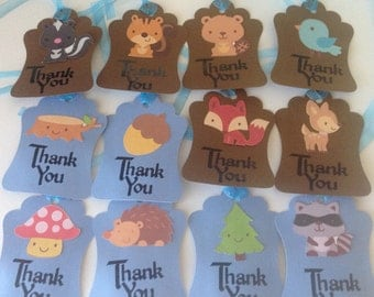 Thank you personalized tags Woodland critters(6)