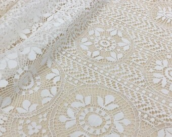 Ivory lace fabric, French Lace, chantilly lace, Wedding Lace, white Lace, soft Chantilly Lace   B00162