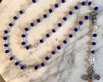 Rosary with Blue & Clear Swarovski Crystals