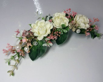 Bridal flower comb Floral comb Wedding flower comb White flower comb Bridal hair accessories Flower comb