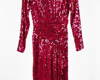 Vintage red sequin dress