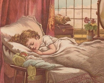 Victorian Girl Sleeping With Her Beloved Doll Antique Dolls Art Lithograph Print 1885