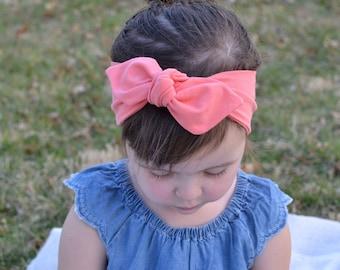 Peach Baby Bow, Headwrap, Baby Turban, Child's Turban, Bow Headband, Baby Headband, Hair Bow,