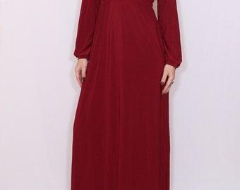 Burgundy dress Long sleeve dress Wine red Maxi dress Women