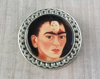 Frida Kahlo Brooch (25mm) Silver