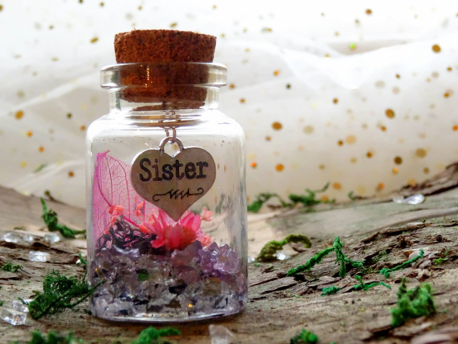 Fairy Garden In A Jar With Sister Charm, Sister Gift, Real Flower Garden,  Cute Gift
